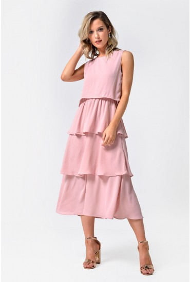 Kelly Overlay Midi Dress in Blush