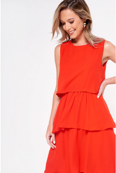 Kelly Overlay Midi Dress in Red