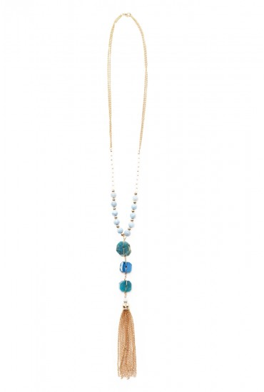 Fiona Beaded Gold Tassel Pendant