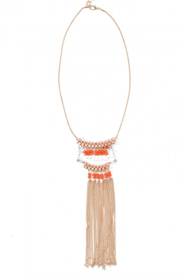 Betty Fringe Pendant in Pink