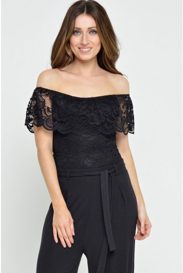 Mila Off Shoulder Lace Bodysuit in Black