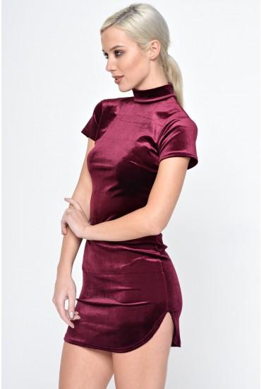 Katie High Neck Velvet Dress in Wine