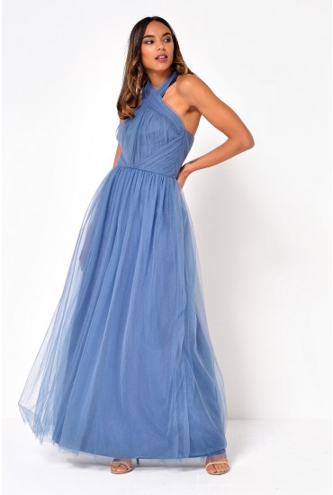 Alessia Tulle Maxi Dress in Petrol Blue