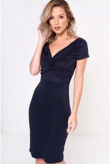 Pasha Knot Dress in Navy
