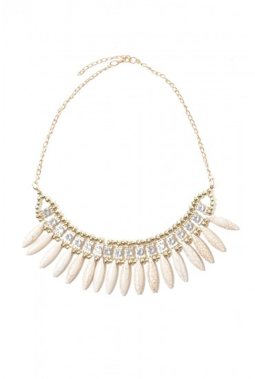 Kelly Diamante and Bead Necklace in Cream