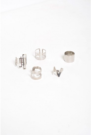 Olivia Pack of 5 Festival Ring in Silver