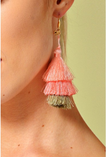 Deirdre Tassel Earring in Peach