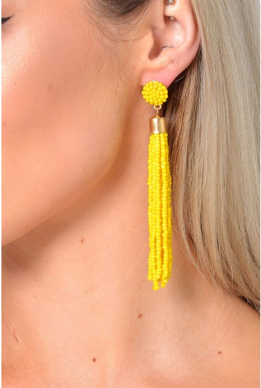 Sinitta Beaded Tassel Earring in Yellow
