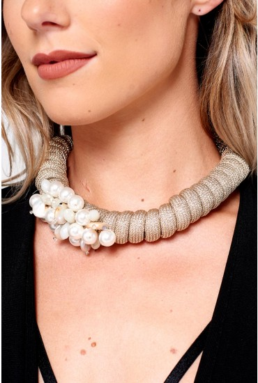 Layla Pearl Embellished Statement Necklace