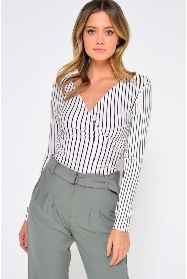 Pip Stripe Jersey Bodysuit in White