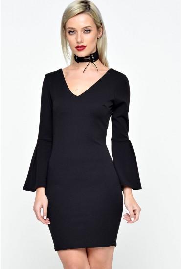 Zara Bell Sleeve Bodycon Dress in Black