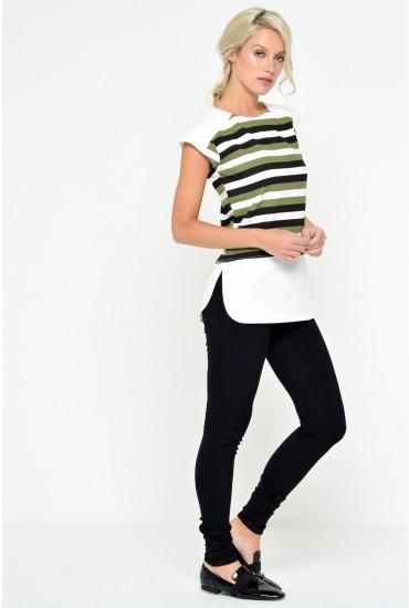 Cara Striped Top in Khaki