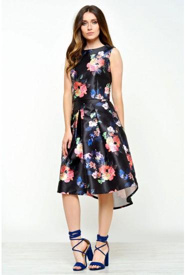 Polyanna Floral Dipped Hem Skirt in Black