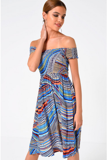 Sara Louise Off the Shoulder Dress in Multi Blue