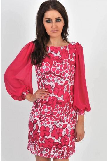 Martina Sequin Dress (Cerise)