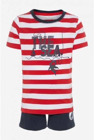 Zelars Boys Tee and Shorts Set in Red