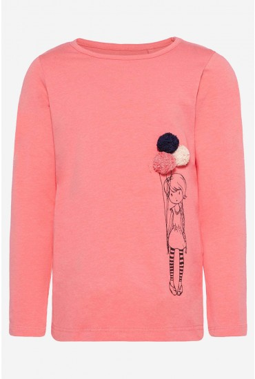 Balloon Girl LS Top in Coral
