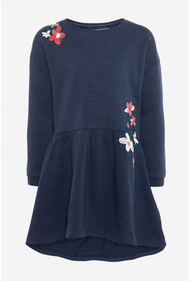 Danna Embroidered Sweat Dress in Navy
