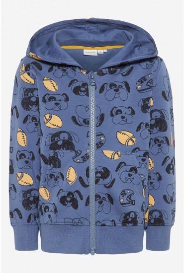 Dog Printed Sweat Cardigan in Blue