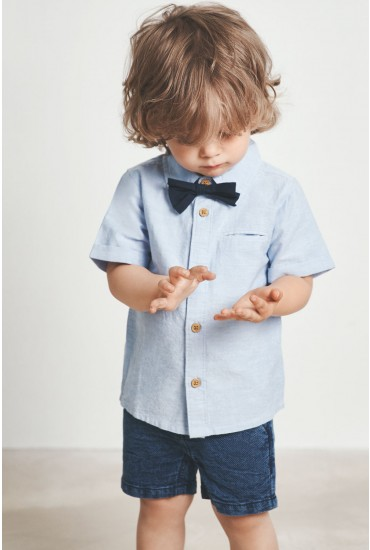 Falson Boys Bowtie Shirt in Blue