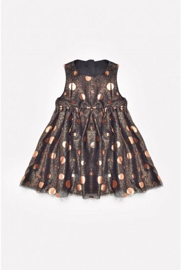 Folly Metallic Dot Dress in Black