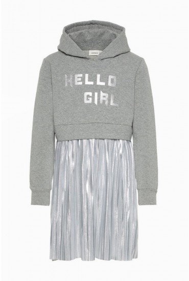 Fraisy Girls Sweat Dress in Grey and Silver