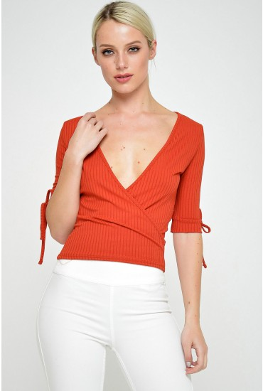 Leah Deep V Rib Top in Rust