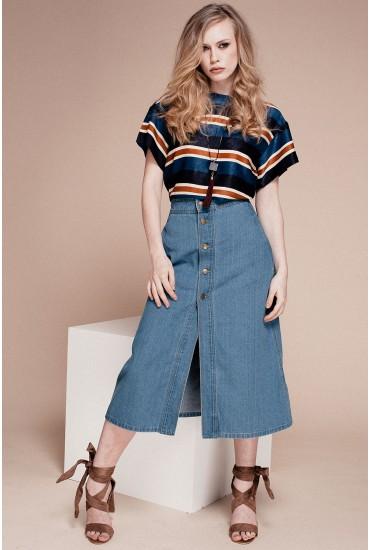 Linda High Waist Button Up Denim Skirt