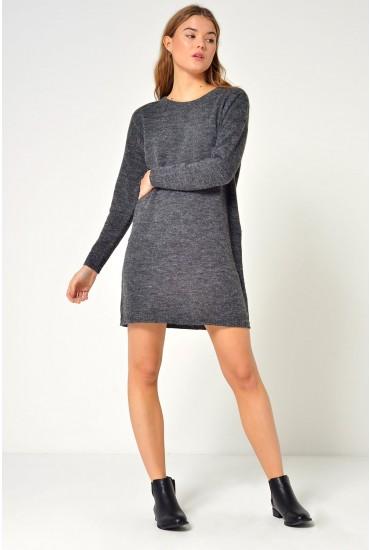 Iva L/S Knit Short Dress in Dark Grey