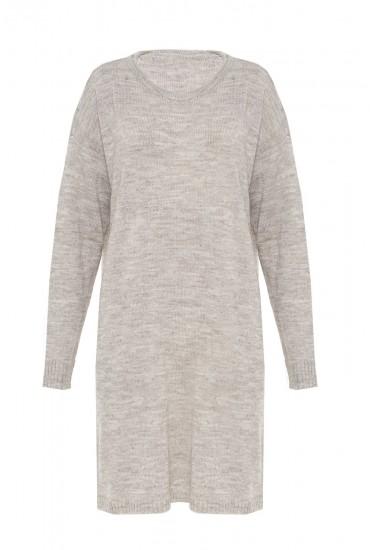 Iva L/S Knit Short Dress in Light Grey