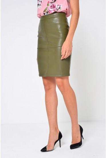 Mia PU Pencil Skirt in Khaki