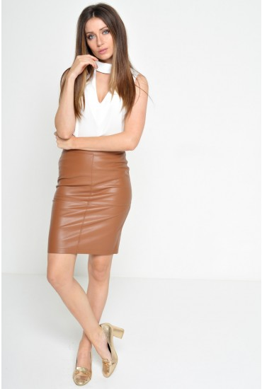 Mia PU Pencil Skirt in Tan