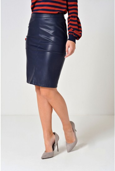 Mia PU Pencil Skirt in Navy