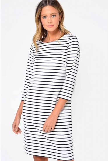 Tinny New Dress in White with Navy Stripe