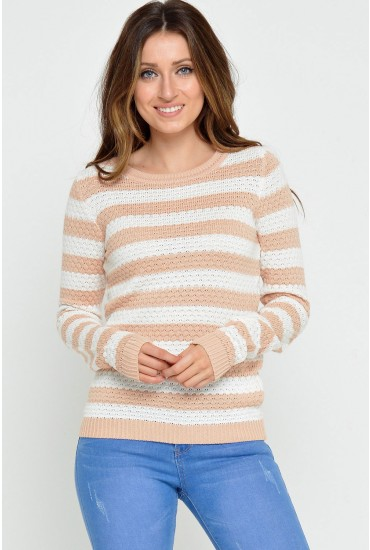 Share Stripe Knit Top in Pink Sand