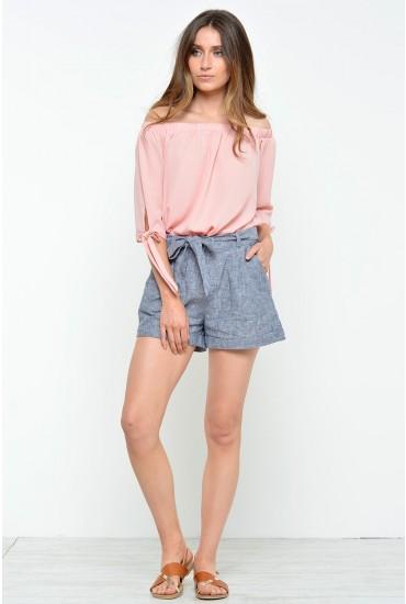 Maier Linen Shorts in Denim