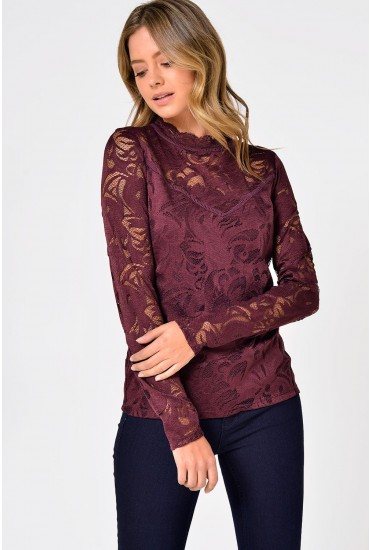 Stasia Lace Top in Wine