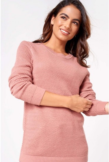 Chassa Long Sleeve Knit Top in Dusty Rose