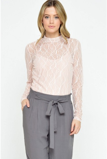 Sarah L/S Turtleneck Lace Top in Natural