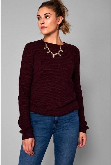 Chassa Long Sleeve Knit Top in Wine