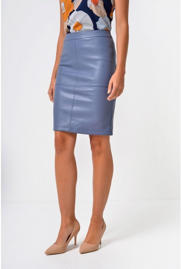 Mia PU Pencil Skirt in Slate Blue