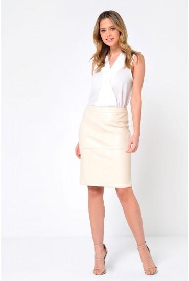 Mia PU Pencil Skirt in Cream