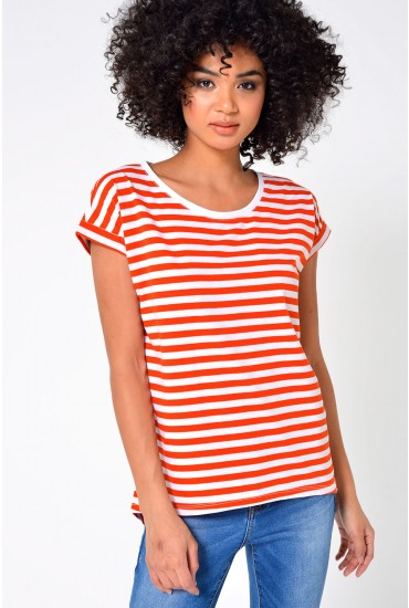 Feamers Lux Shirt in Orange Stripe