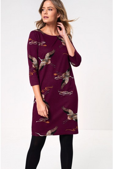 Tinny Bird Print Dress in Wine