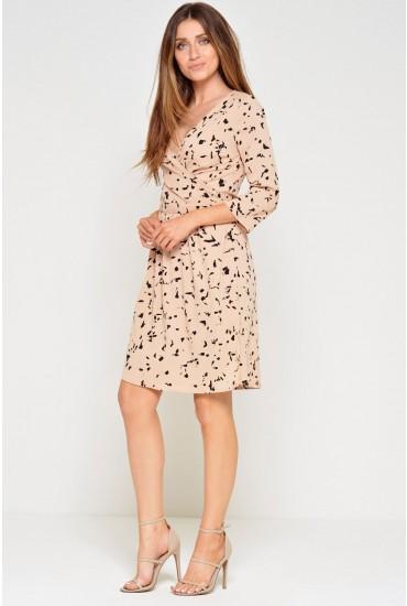 Anorma Wrap Dress in Pale Peach