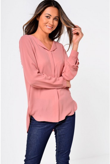 Lucy Long Sleeve Shirt in Salmon