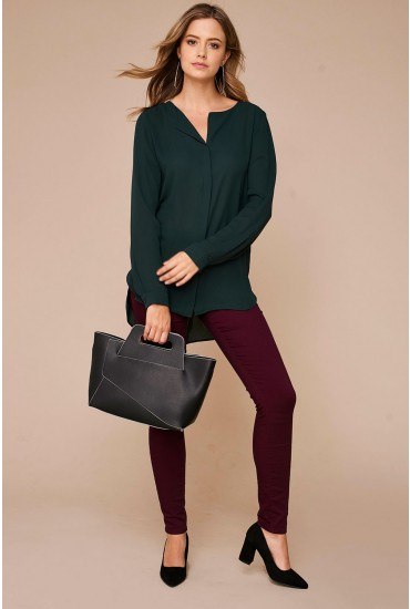 Lucy Long Sleeve Shirt in Dark Green