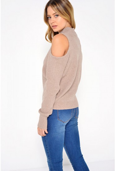 Heida Cold Shoulder Knit in Beige