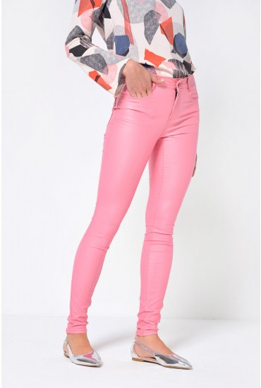 Commit Coated Jeans in Pink
