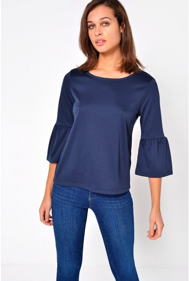 Tinn Bell SLeeve Top in Navy
